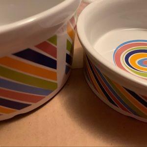 2pc Stoneware Pet Food & Water Bowls